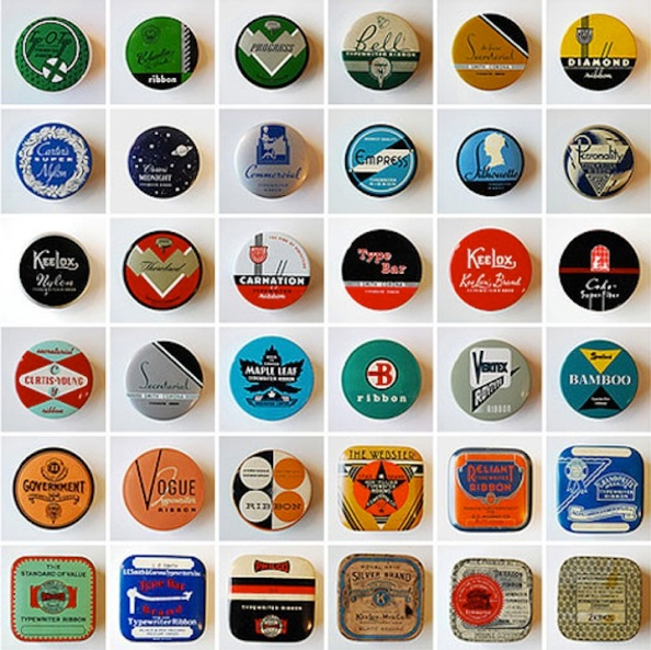 Typewriter Ribbon Tins from : http://www.booooooom.com/2009/02/09/typewriter-ribbon-tin-collection/
